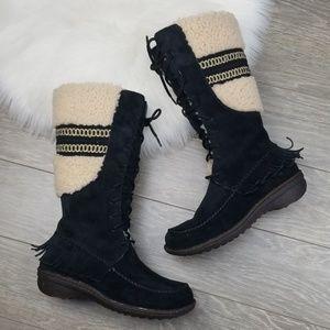 UGG Shoreline Fringe Shearling Suede Leather Boots